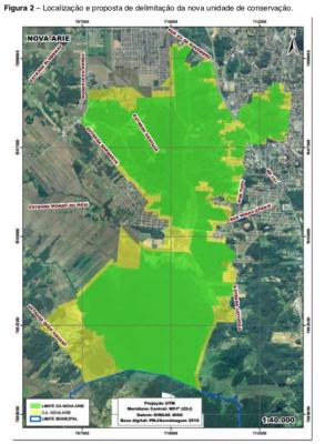 Mapa da nova ARIE em Joinville